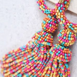 Colorful Tassel Hoop Earrings Rainbow Multicolor